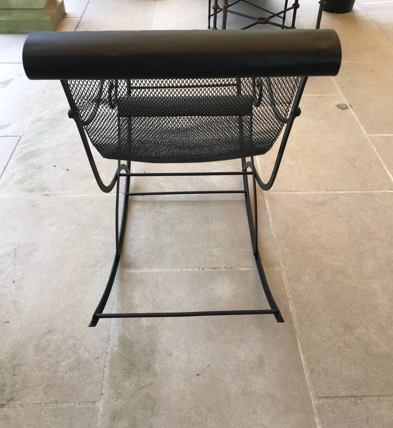 French Iron Rocking Chair with Mesh Sling Seat and Scroll Arms For Sale 5