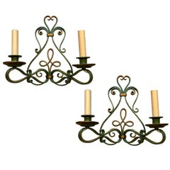 French Iron Sconces with Painted Finish
