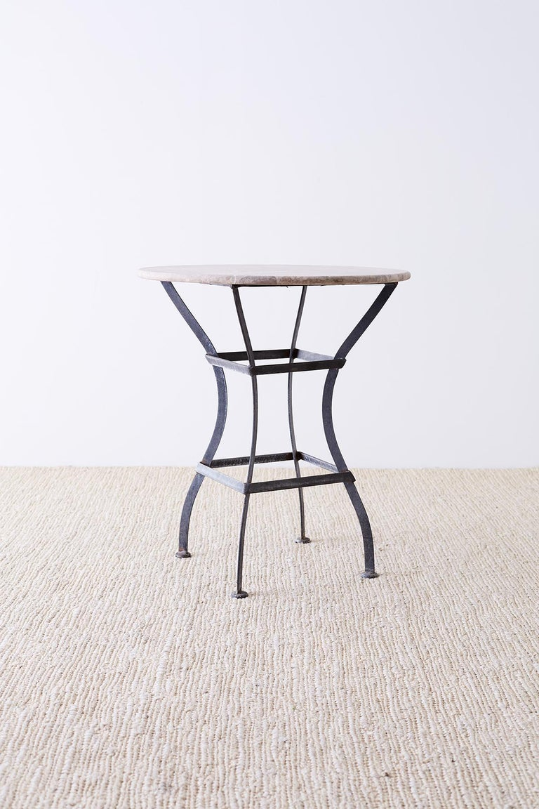 French Iron Stone Top Bistro or Cafe Table For Sale 4