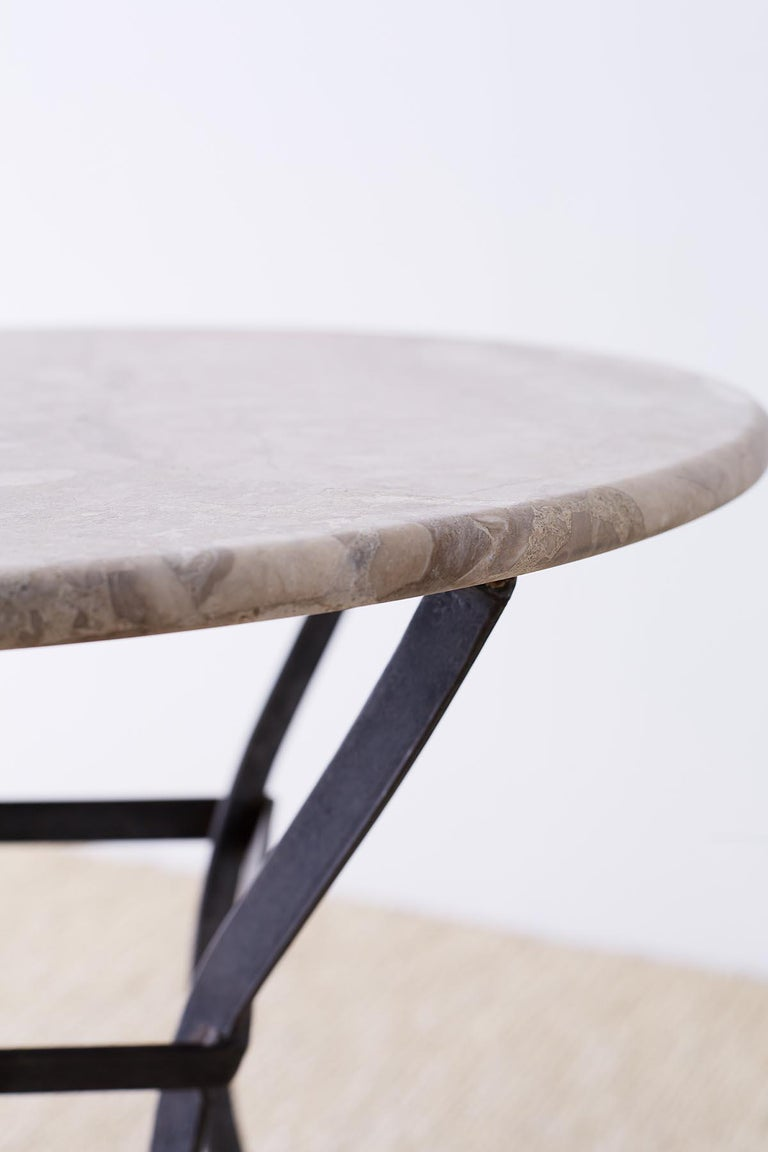 French Iron Stone Top Bistro or Cafe Table For Sale 7