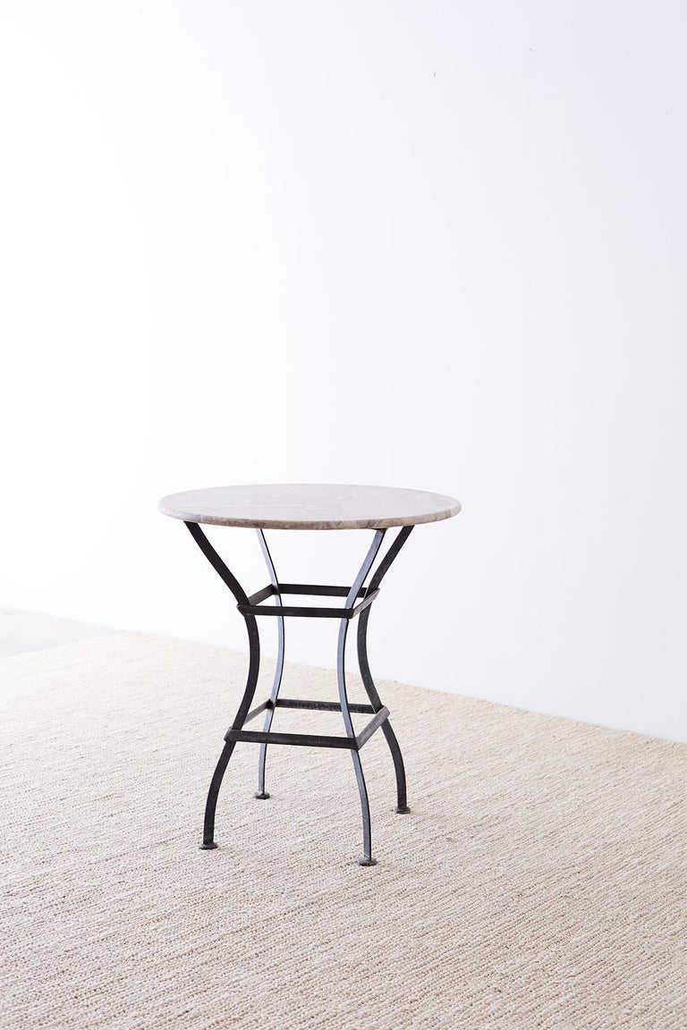 French Iron Stone Top Bistro or Cafe Table For Sale 8