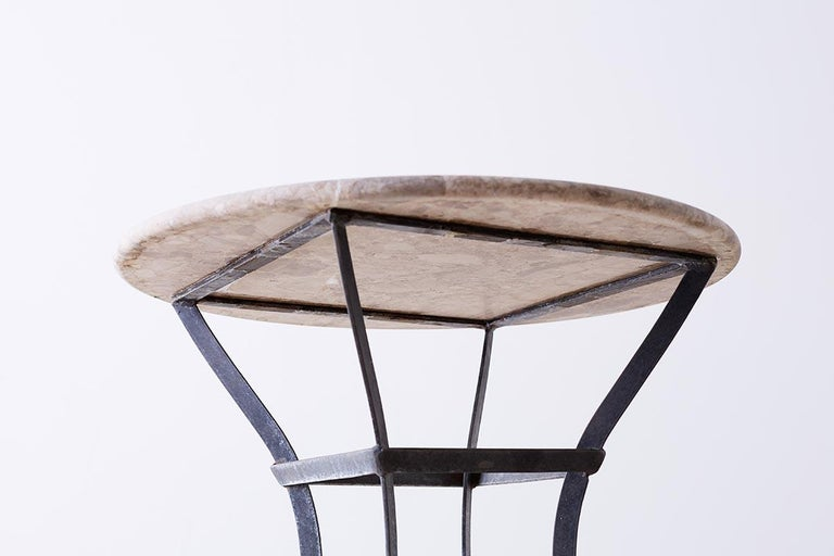 French Iron Stone Top Bistro or Cafe Table For Sale 9