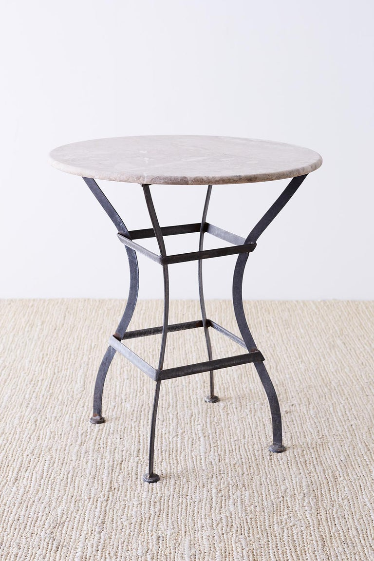 Art Deco French Iron Stone Top Bistro or Cafe Table For Sale