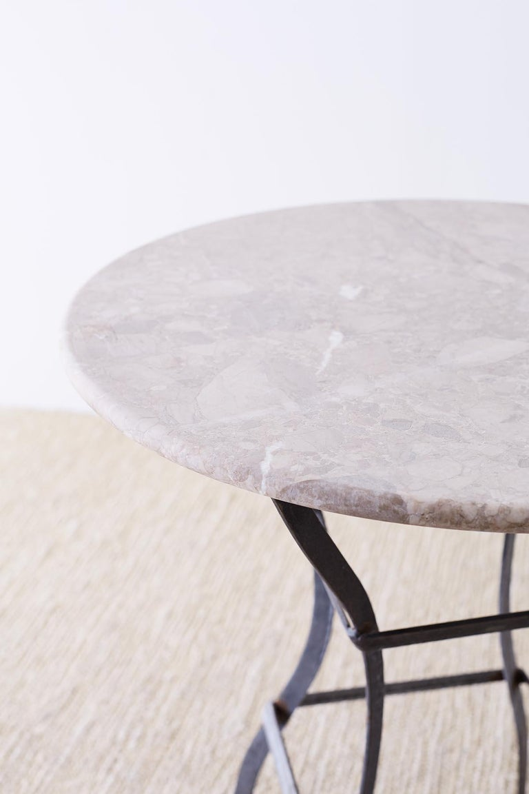 Hand-Crafted French Iron Stone Top Bistro or Cafe Table For Sale