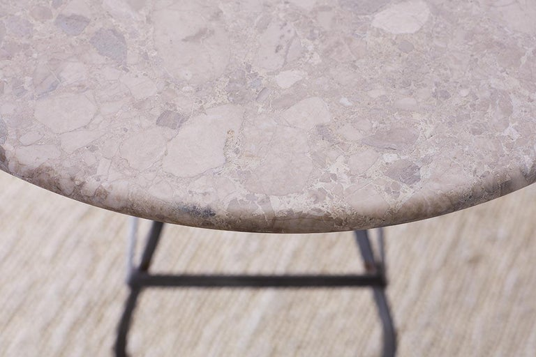 French Iron Stone Top Bistro or Cafe Table In Good Condition For Sale In Oakland, CA