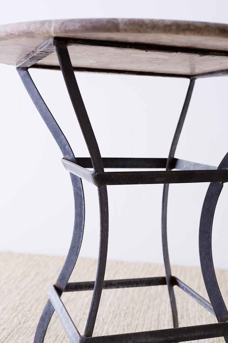 French Iron Stone Top Bistro or Cafe Table For Sale 1