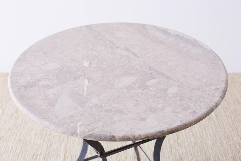 French Iron Stone Top Bistro or Cafe Table For Sale 3