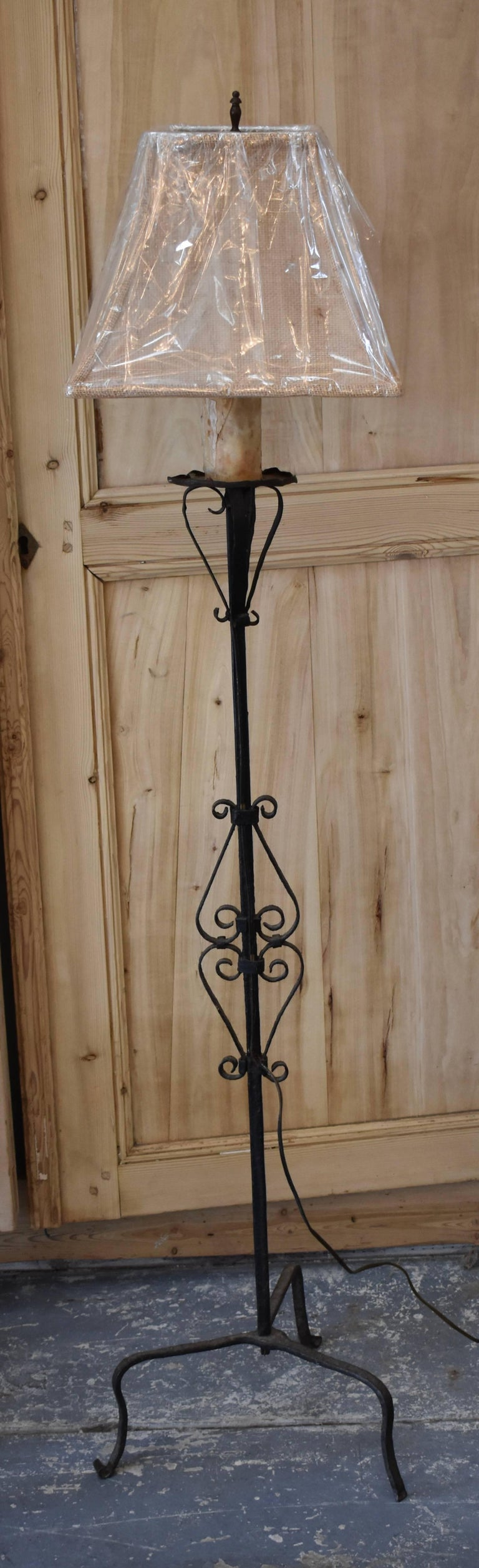 French Iron Torchiere Floor Lamp For Sale 3