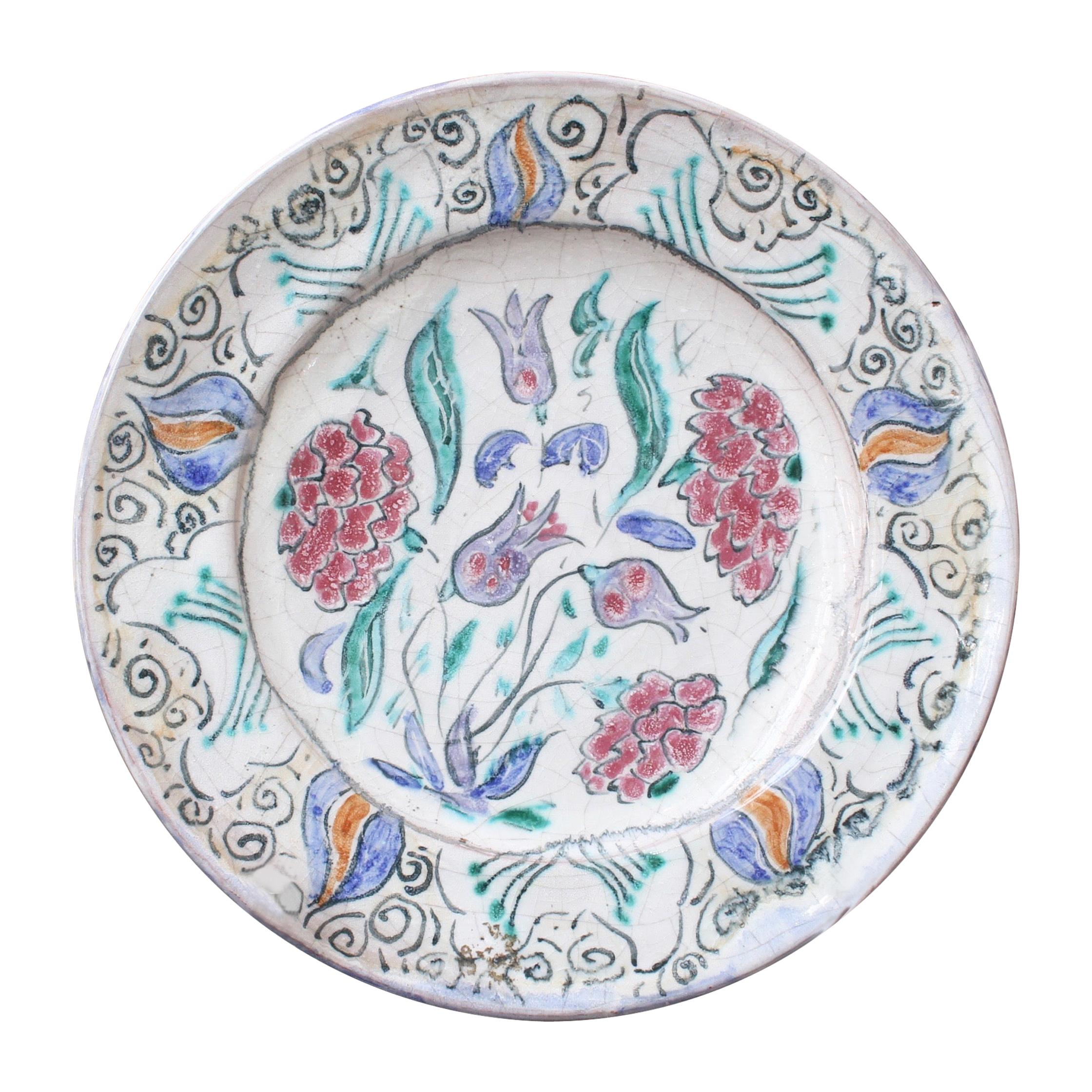 French Iznik-Inspired Ceramic Decorative Plate by Édouard Cazaux, circa 1930s