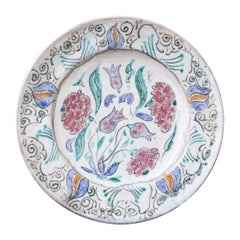 French Iznik-Inspired Ceramic Decorative Plate by Édouard Cazaux, circa 1930s