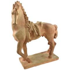 French J. de Monpesat 1940s Figural Terracotta Sculpture of Horse