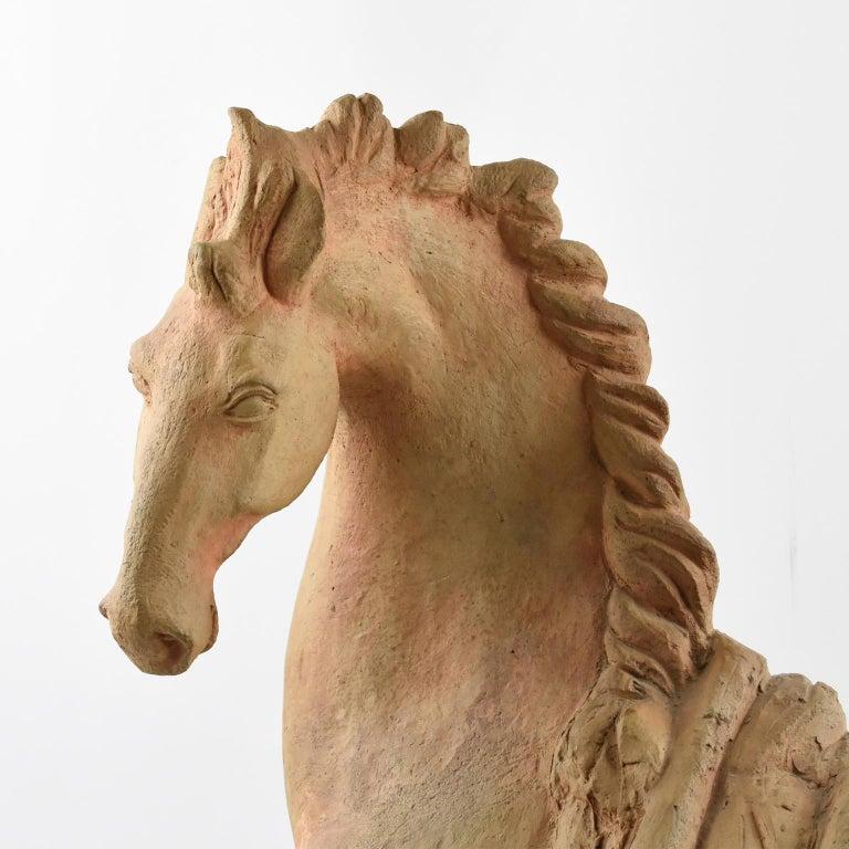 French J. de Monpesat 1940s Terracotta Horse Sculpture For Sale 5