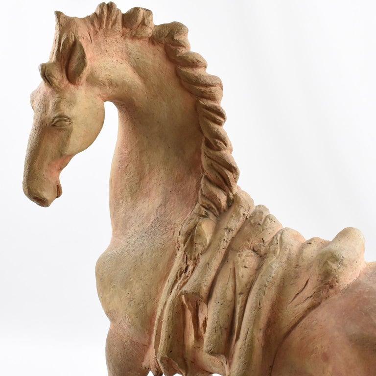 French J. de Monpesat 1940s Terracotta Horse Sculpture For Sale 9