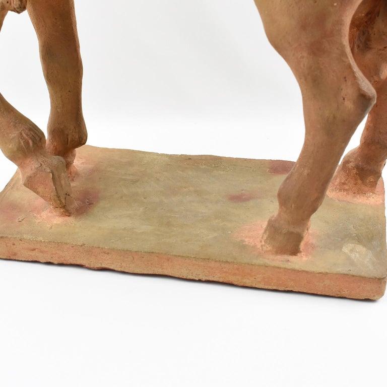 French J. de Monpesat 1940s Terracotta Horse Sculpture For Sale 10