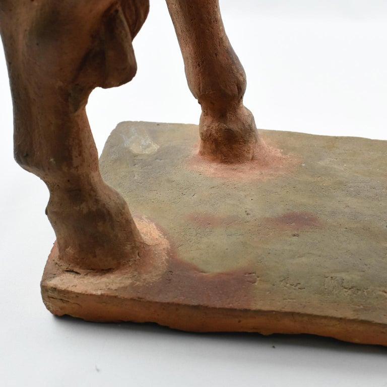 French J. de Monpesat 1940s Terracotta Horse Sculpture For Sale 13