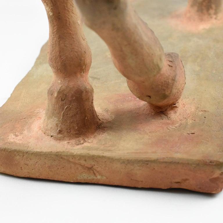 French J. de Monpesat 1940s Terracotta Horse Sculpture For Sale 15