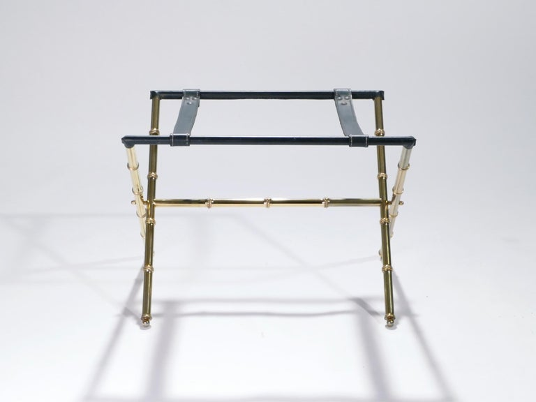 French Jacques Adnet Leather and Brass Side Table with Tray, 1950s For Sale 5