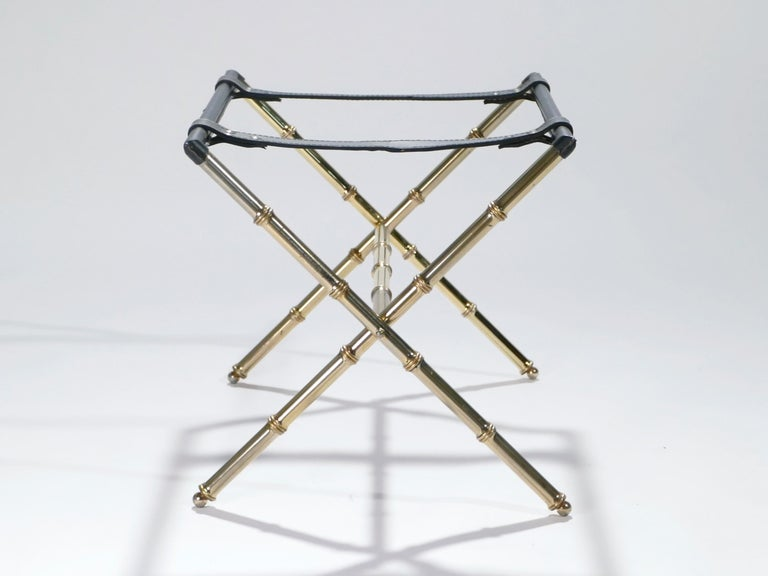 French Jacques Adnet Leather and Brass Side Table with Tray, 1950s For Sale 6