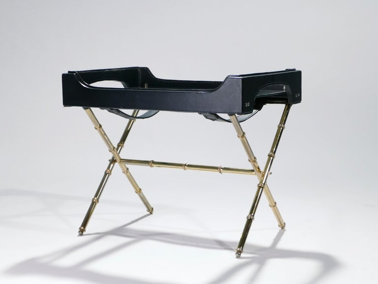Mid-Century Modern French Jacques Adnet Leather and Brass Side Table with Tray, 1950s For Sale