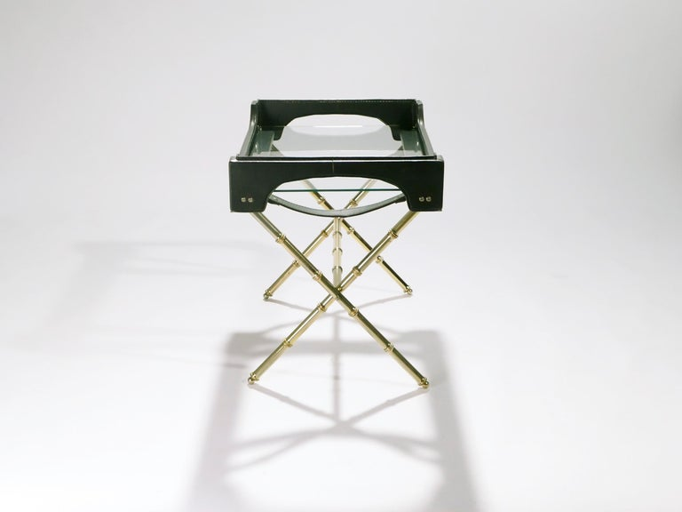 Mid-20th Century French Jacques Adnet Leather and Brass Side Table with Tray, 1950s For Sale