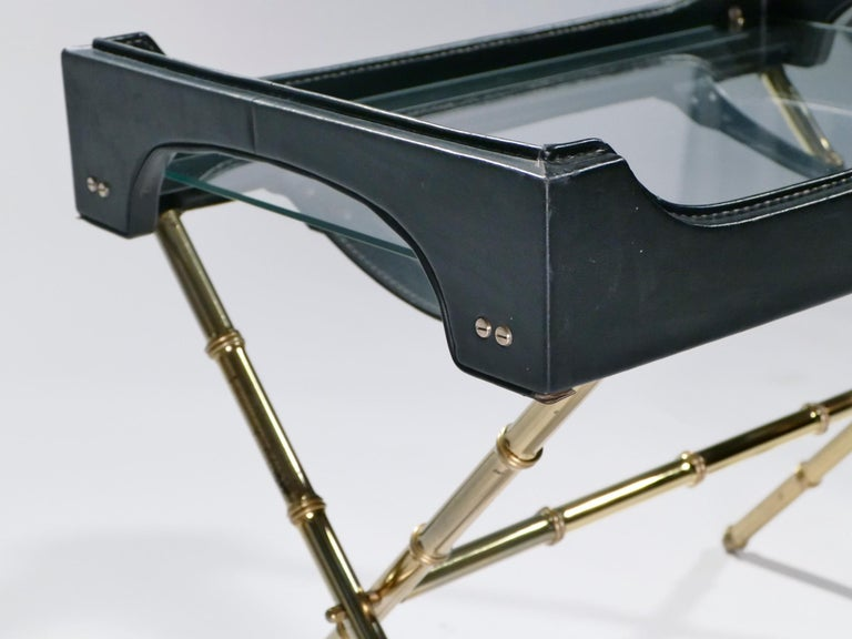French Jacques Adnet Leather and Brass Side Table with Tray, 1950s For Sale 2