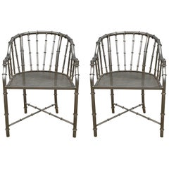 French Jacques Adnet Style Faux Bamboo Steel Chairs, Pair, circa 1960s