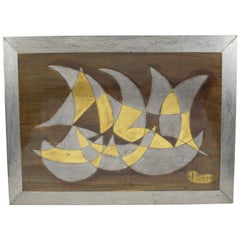 French Jacques Potage 1970s Brutalist Metal Wall Art Sculpture Panel