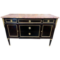 French Jansen Style Black Lacquered Commode with Bronze Mounts