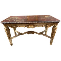 French Jansen Carved Parcel Gilt and Chinoiserie Low Table