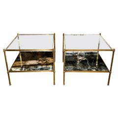French Jansen Style Brass Side Tables