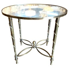 French Jansen Style Oval Shaped Table with Mirrored Top