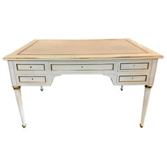 French Jansen Style White Lacquered and Brass Trim Desk with a Leather Top