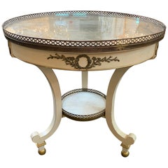 French Jansen Style White Lacquered Brass Occasional Table
