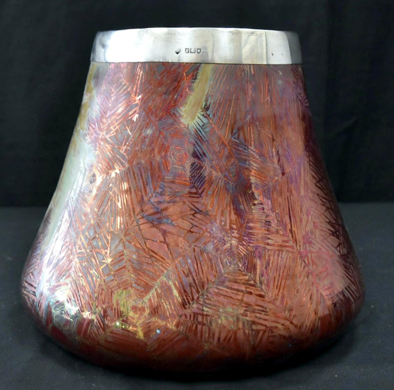 French Japonesque Art Nouveau Lusterware Vase Clement Massier In Good Condition For Sale In Atlanta, GA