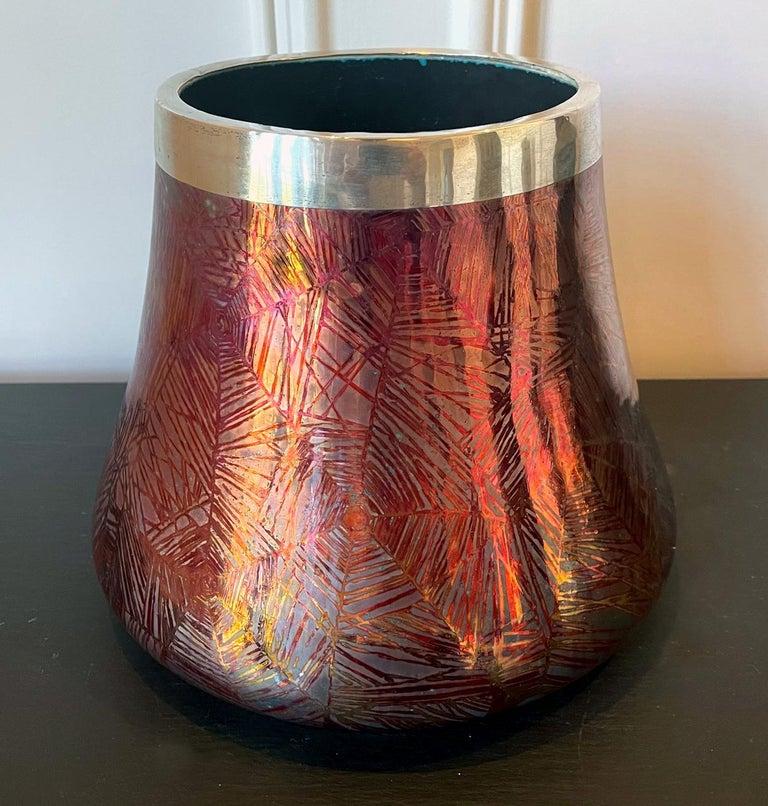 Japonisme French Japonesque Art Nouveau Lusterware Vase Clement Massier For Sale