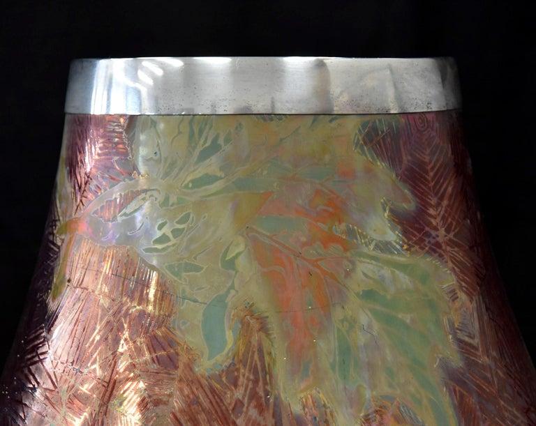 Silver French Japonesque Art Nouveau Lusterware Vase Clement Massier For Sale
