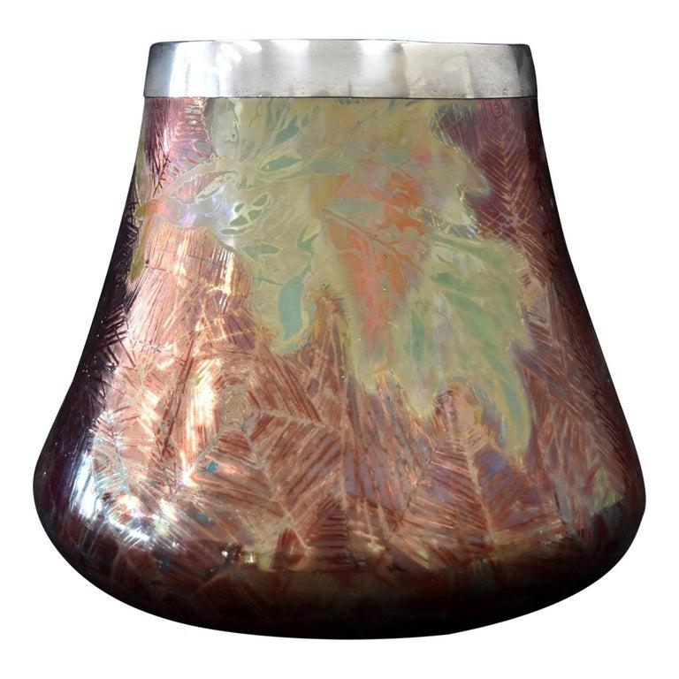 French Japonesque Art Nouveau Lusterware Vase Clement Massier For Sale