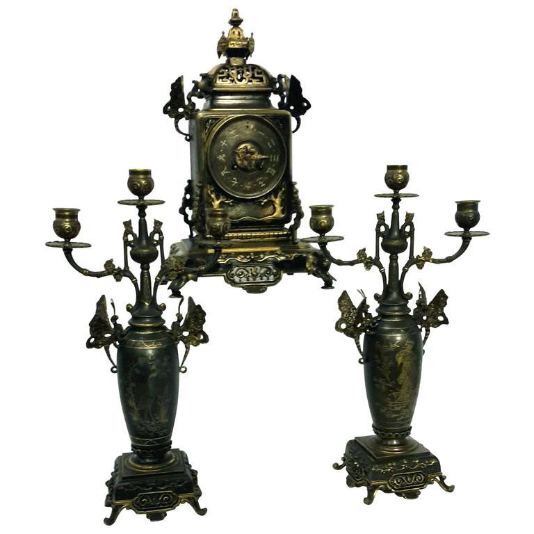 French Japonisme Bronze Clock Garniture, 19th Century