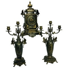 French Japonisme Bronze Clock Garniture, 19th Century