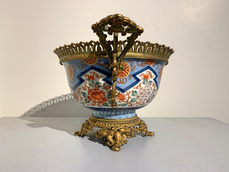 French Japonisme Ormolu Mounted Japanese Imari Bowl Centerpiece In Good Condition For Sale In Austin, TX