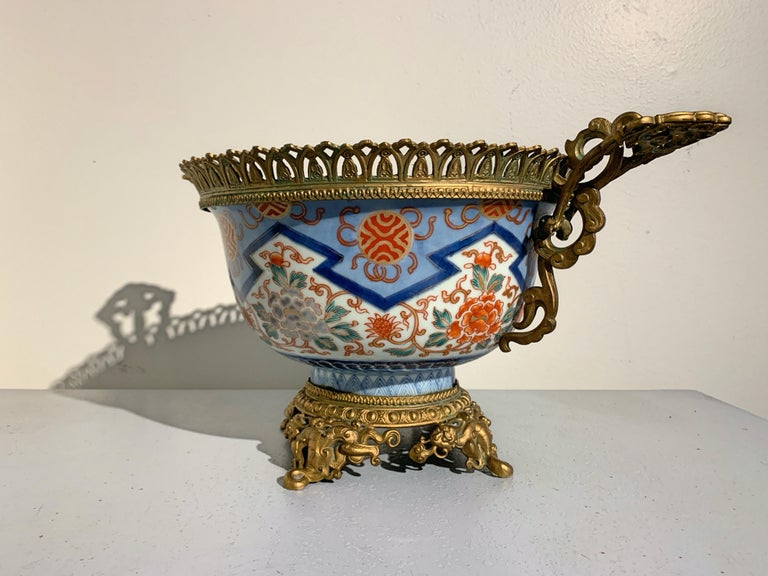 19th Century French Japonisme Ormolu Mounted Japanese Imari Bowl Centerpiece For Sale