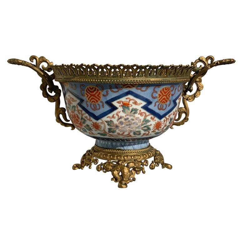 French Japonisme Ormolu Mounted Japanese Imari Bowl Centerpiece For Sale