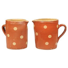French Jaspe Ware Pottery Pitchers with Burnt Orange Glaze, Sold Individually
