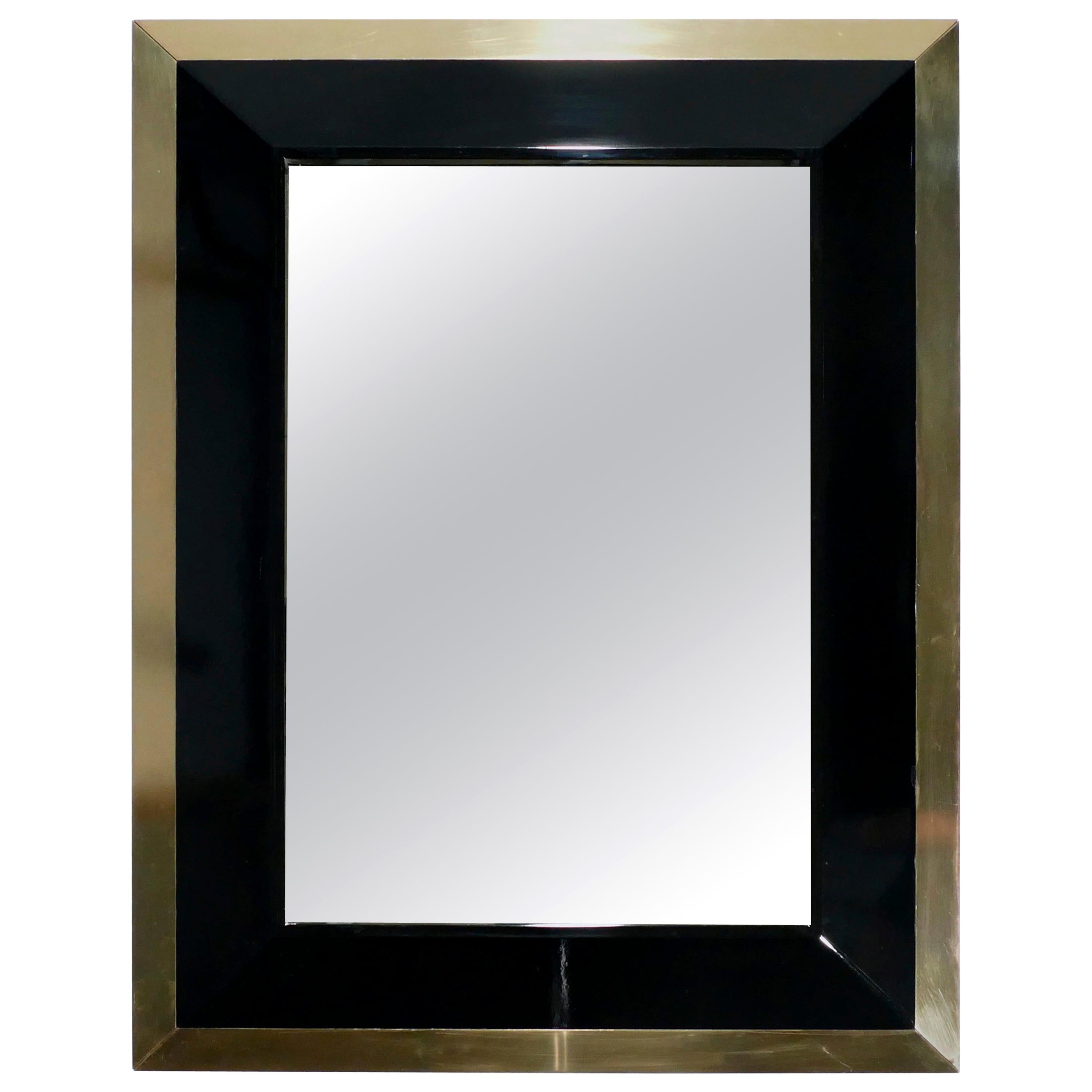 French J.C. Mahey Wall Mirror in Black Lacquer and Brass, 1970s