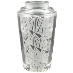 French Jean Luce 1930s Art Deco Geometric Etched Glass Vase