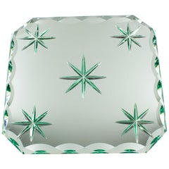 French Jean Luce 1930s Art Deco Mirrored Glass Tray Platter Centerpiece