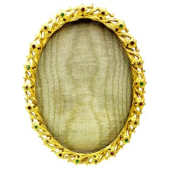 French Jeweled Oval Gilt Brass Photograph Frame, 1890-1910