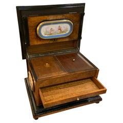 French Jewelry Box with Sevres-Style Porcelain Mounts in a Walnut Case