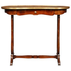 French Kidney Shaped Writing Table with One Drawer in Mahogany