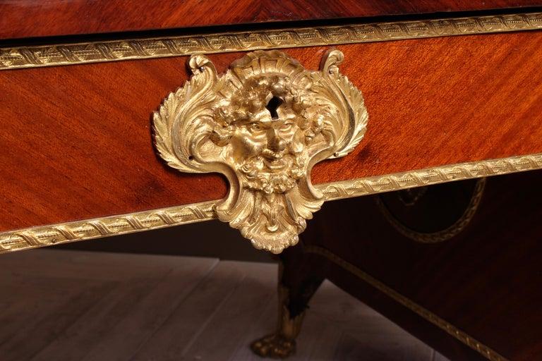French Kingwood and Ormolu Bureau Plat Late 19th Century by Au Gros Chene, Paris For Sale 6